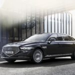 The 2021 Genesis G90 model year received smart headlights and an automatic braking system when reversing